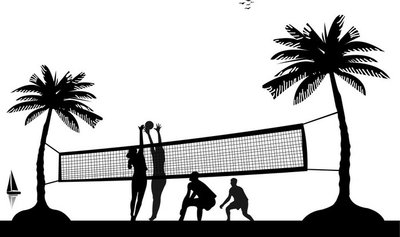 Girls and boys playing volleyball on the beach silhouette