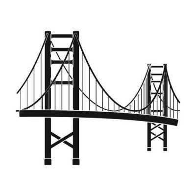 Golden Gate Bridge icon in black style isolated on white background. USA country symbol stock vector illustration.