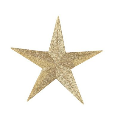 Golden star christmas decoration.