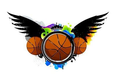 Graffiti image with basketballs