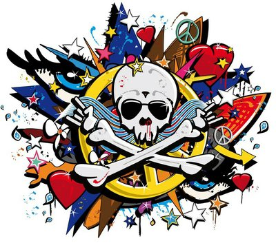Graffiti Skull and Bones skeletonl pop art illustration