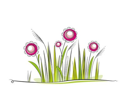 grassy meadow with flowers, place for text