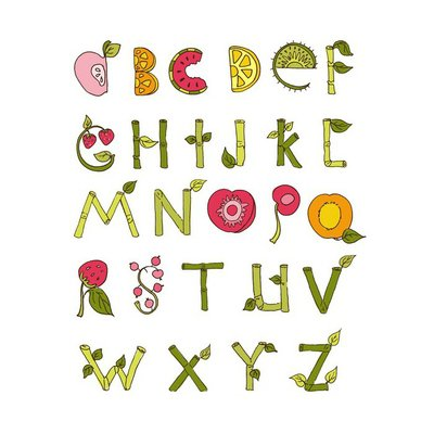 Hand drawn alphabet - Nature and Fruits Elements. Doodle font