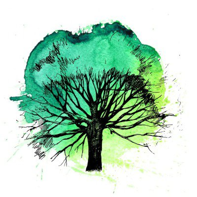 Hand drawn tree silhouette