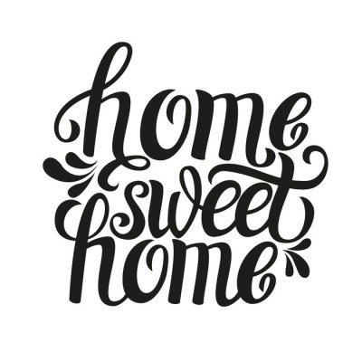Wall Decal Hand lettering typography poster 'Home sweet home'