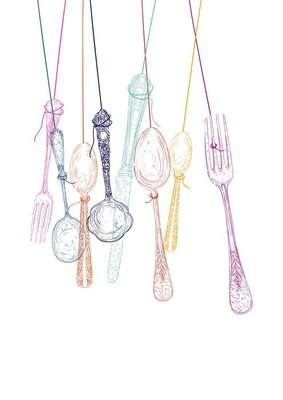 Hanging cutlery elements silhouettes