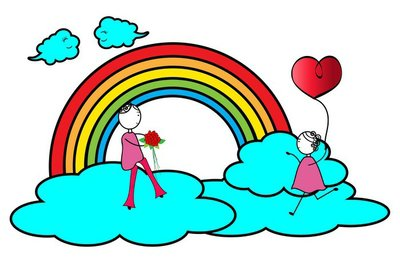 Happy couple play on a cloud -Valentines day
