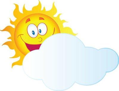 Happy Sun Cartoon Character Hiding Behind Cloud