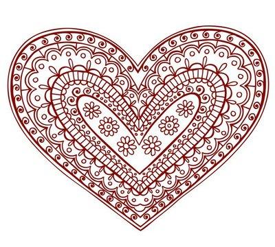 Henna Mehndi Tattoo Heart Valentines Doodle