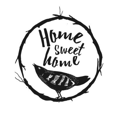 Wall Decal Home sweet home, hand drawn poster.