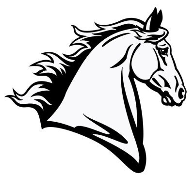 horse head black white profile