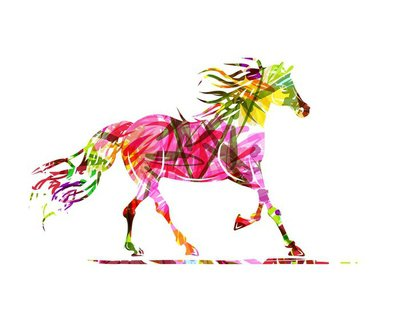 Horse sketch with floral ornament for your design. Symbol of