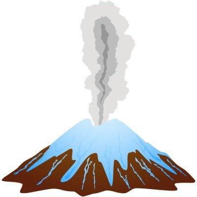 Icy dormant volcano mountain top.