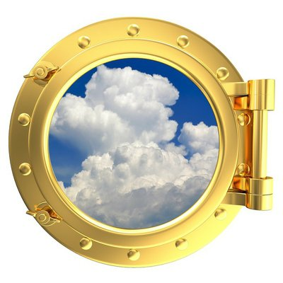 Illustration of a gold ship porthole with a view of the sky
