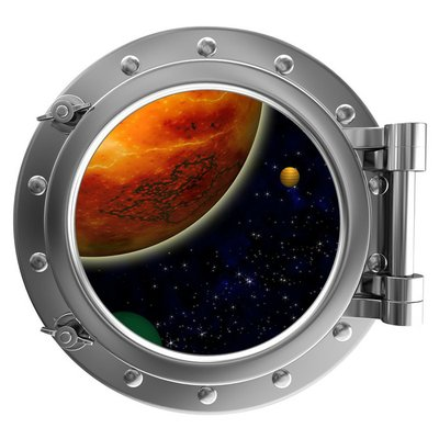 Illustration of a ship porthole with a view to space