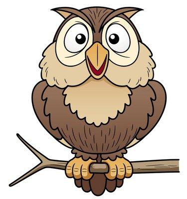 illustration of Cartoon owl sitting on tree branch