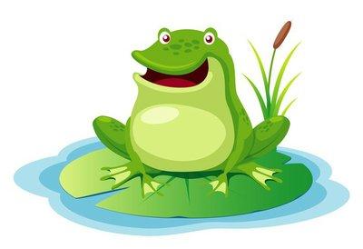 illustration of green frog on a leaf pond