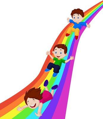 Illustration of Kids Sliding Down a Rainbow
