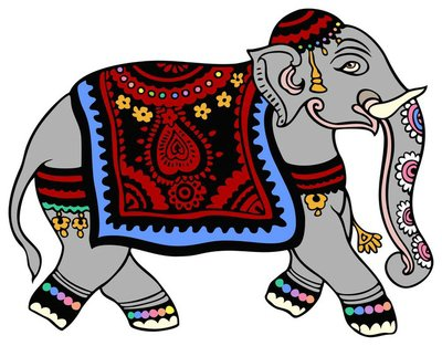 Indian Elephant, dressed for a party