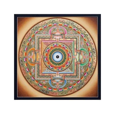 Inner part of ancient tangka Ohm Mandala on white
