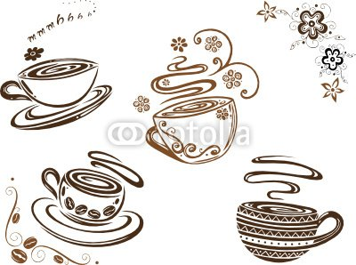 Kaffee, Cafe, Kaffeetassen, coffee, Vector Set