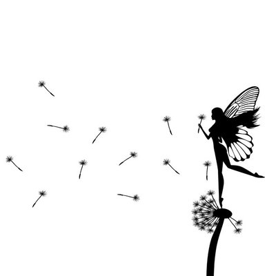 Little fairy dancing on a dandelion