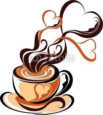 Love coffee. Coffee with steam form of hearts