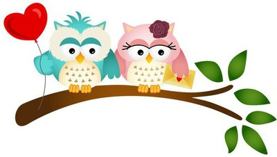 Lovely Owls with Balloon and Envelope