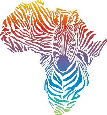 Map of Africa in rainbow zebra camouflage