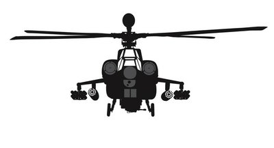 Military helicopter vector silhouette