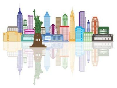 New York City Skyline Color Vector Illustration