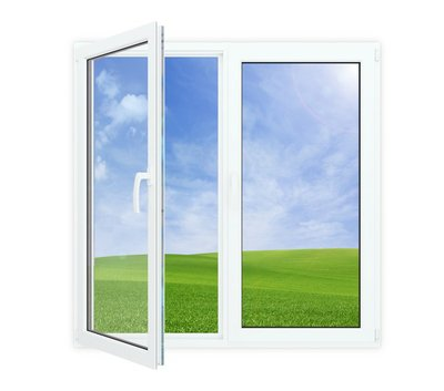 Open window with picturesque view of blue sky