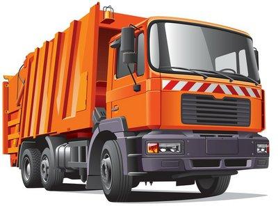 orange garbage truck