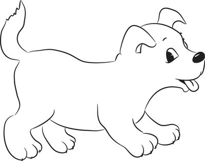 Wall Decal Outlined cute cartoon dog. Vector illustration.