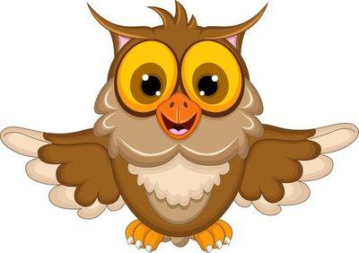 owl cartoon waving