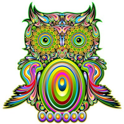 Owl Psychedelic Pop Art Design-Gufo Psichedelico Decorativo