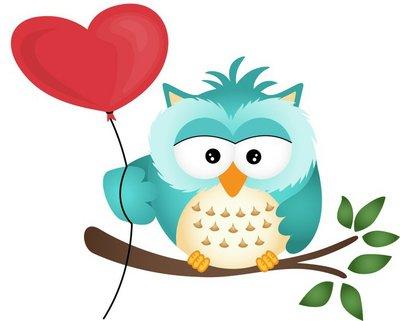 Owl with Heart Balloon
