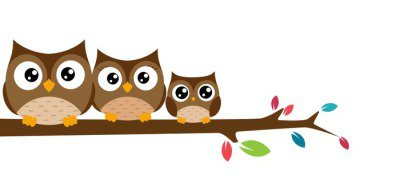 owls Family  sat on a tree branch