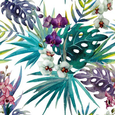 pattern orchid hibiscus leaves watercolor tropics Wall Decal