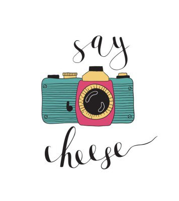 Wall Decal Photo camera with lettering - Say cheese. Hand drawn illustration.