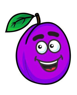 Purple cartoon plum fruit