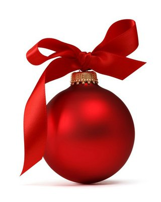 Red Christmas ball with ribbon