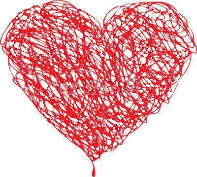 Red heart scribble with lines texture on white background