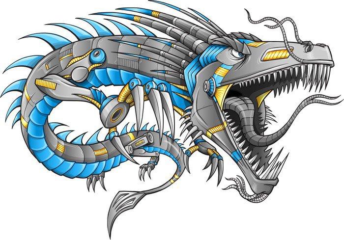 Wall Art Stickers Vector : Robot cyborg dragon vector illustration art wall decal