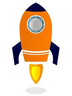 Rocket Ship isolated on white ( blue & orange )