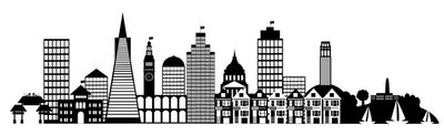 San Francisco City Skyline Panorama Clip Art