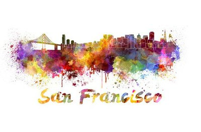 San Francisco skyline in watercolor