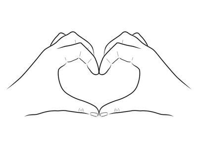 Schwarz-weiße Vektor-Zeichnung: Zwei Hände formen ein Herz