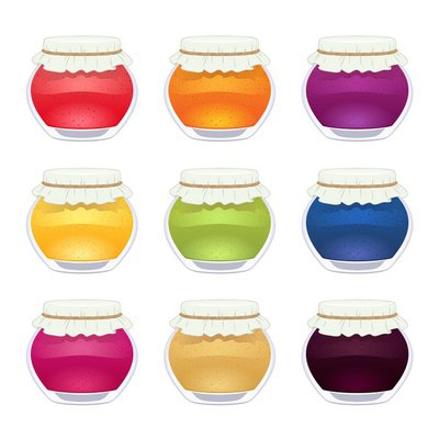 Set of glossy colorful jam jars.