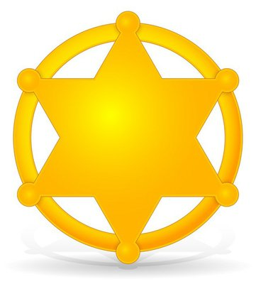 Sheriff's star, badge with shadow